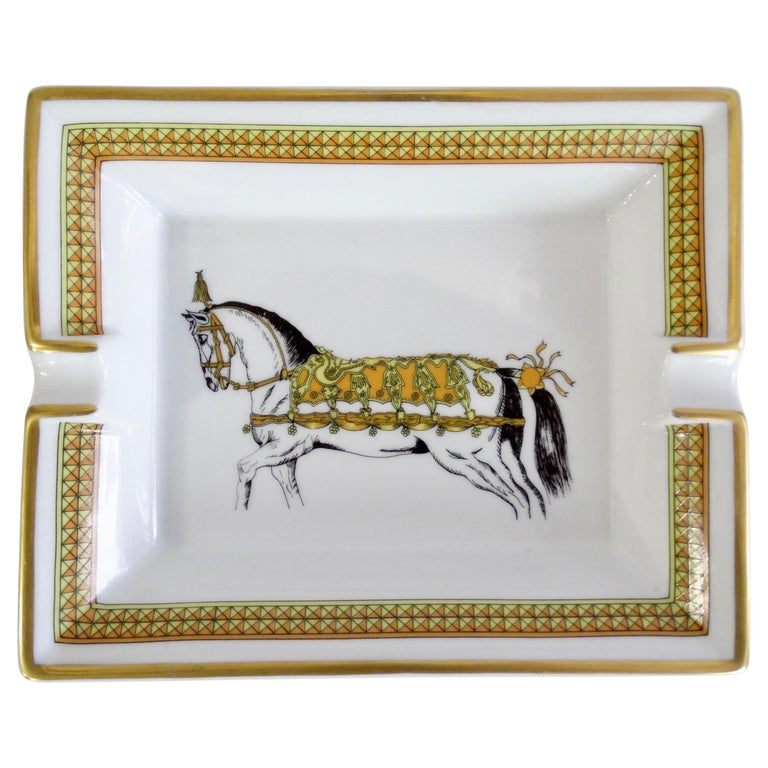 Hermés 2000s Decorated Cheval Horse Porcelain Tray For Sale