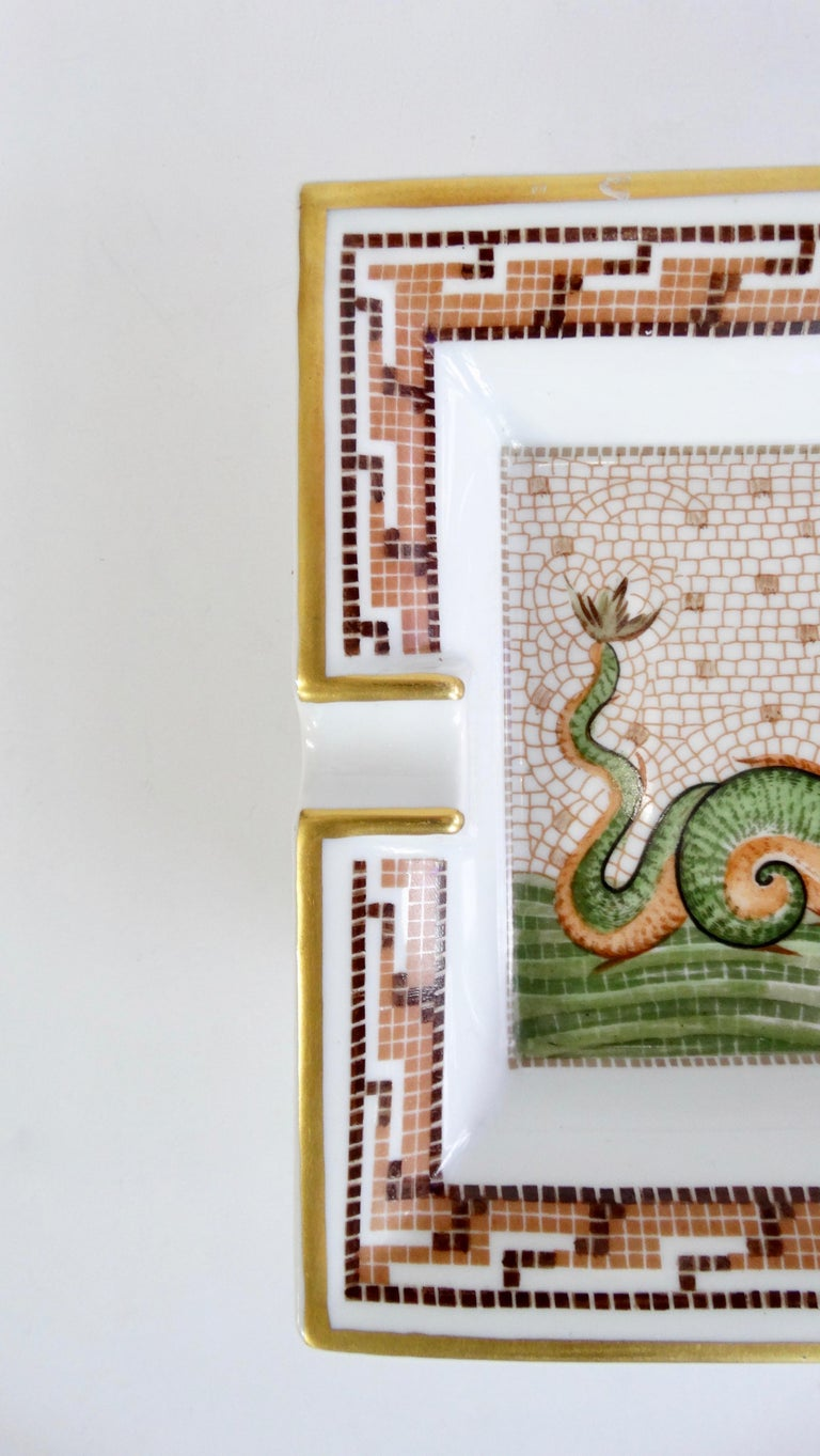 Women's or Men's Hermés 2000s Hippocamp Porcelain Tray  For Sale