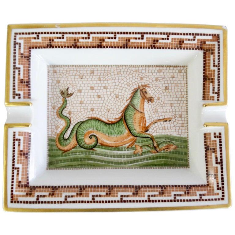 Hermés 2000s Hippocamp Porcelain Tray  For Sale
