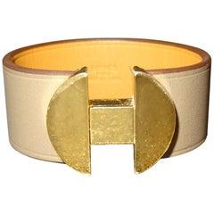 Hermes 2002 Model French Mink Leather and Metal Gold Plating Bracelet
