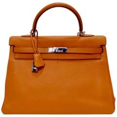 Hermés 2003 Kelly Retourne 34cm Hermes Orange Togo Leather
