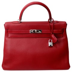 Hermés 2003 Kelly Retourne Rouge 35cm Hermes Togo Leather
