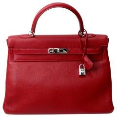 Hermés 2003 Kelly Retourne Rouge 35cm Hermes Togo Leather