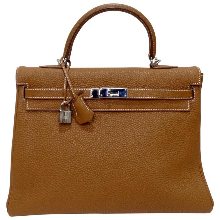 Hermès 2005 Kelly Retourne 35cm Gold Togo Leather