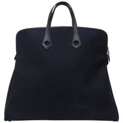 Hermés 2006 Large Black Canvas Travel Tote