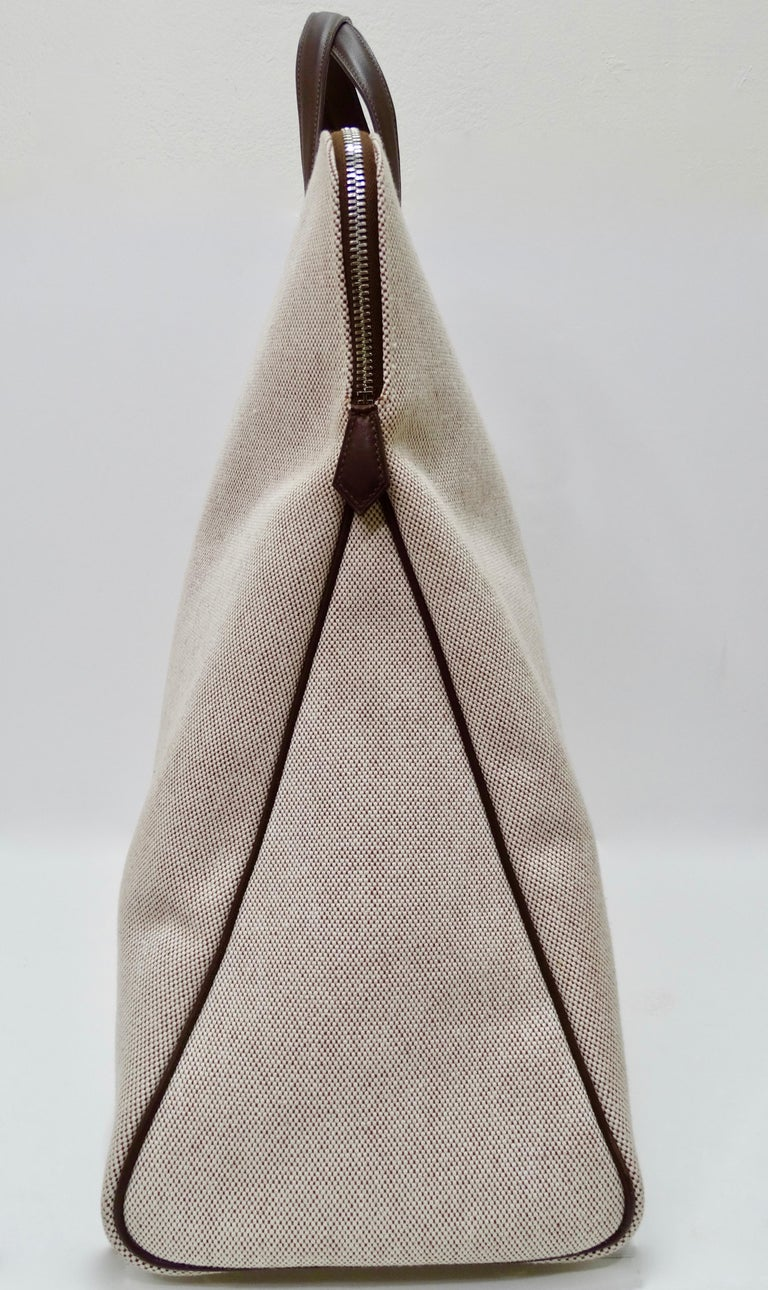 Gray Hermés 2006 Large Tan Canvas Travel Tote  For Sale