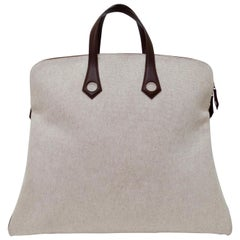 Hermés 2006 Large Tan Canvas Travel Tote