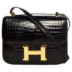 Hermes 2007 Black Shiny Crocodile Porosus Lisse Constance 24 H bag