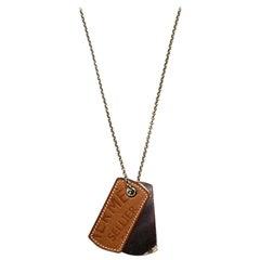 Hermes 2010 Leather & Palladium Dog Tag Necklace