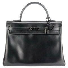 Hermès 2011 Kelly 35cm So Black Box Calf Leather Bag