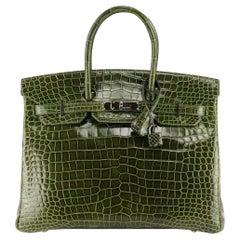 Hermès 2012 Birkin 35cm Porosus Crocodile Leather Bag