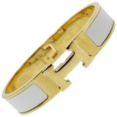 Hermés 2013 Clic-Clac H White Enamel Bracelet