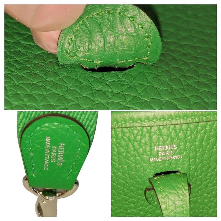 Hermès 2014 Bambou Green Clemence Evelyne TPM Crossbody 2