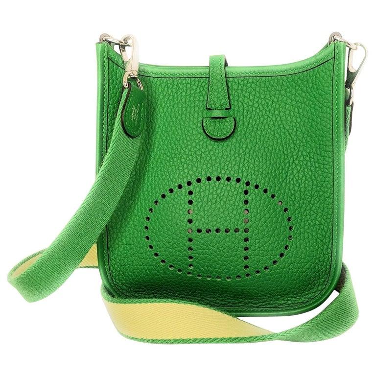 Hermès 2014 Bambou Green Clemence Evelyne TPM Crossbody