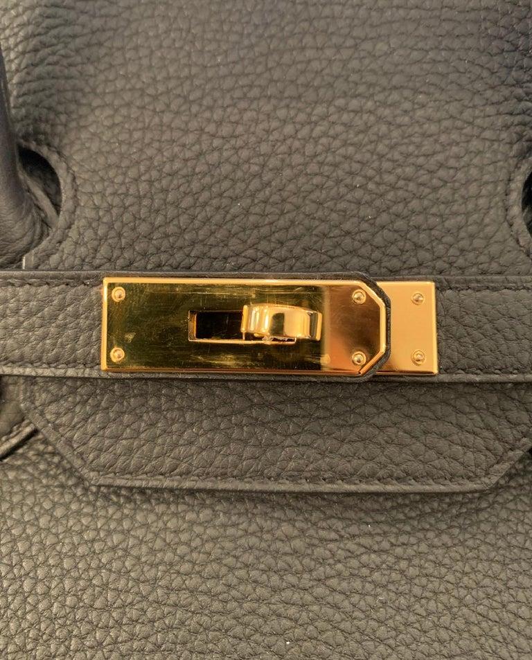 Hermes 2016 Black Togo Leather 35cm Birkin Bag w. Gold Hardware For Sale 2