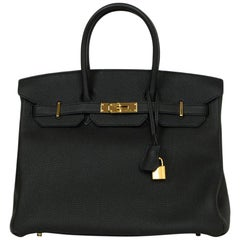 Hermes 2016 Black Togo Leather 35cm Birkin Bag w. Gold Hardware