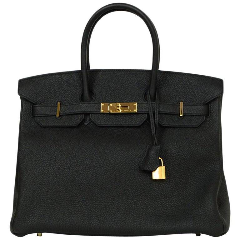 Hermes 2016 Black Togo Leather 35cm Birkin Bag w. Gold Hardware For Sale