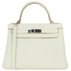 Hermes 2016 Craie Off-white Clemence 28cm Retourne Kelly Bag PHW w/ Strap
