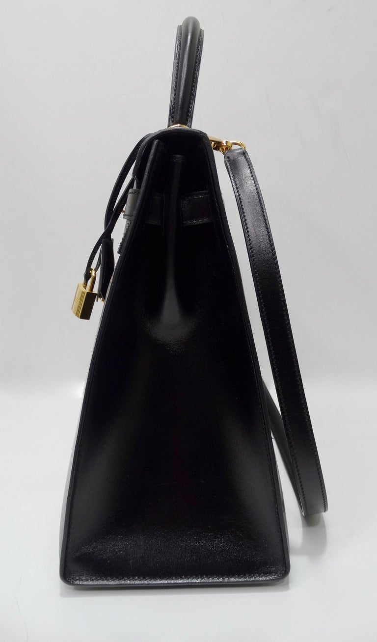Hermès 2016 Kelly Sellier 35cm Black Box Leather  For Sale 9