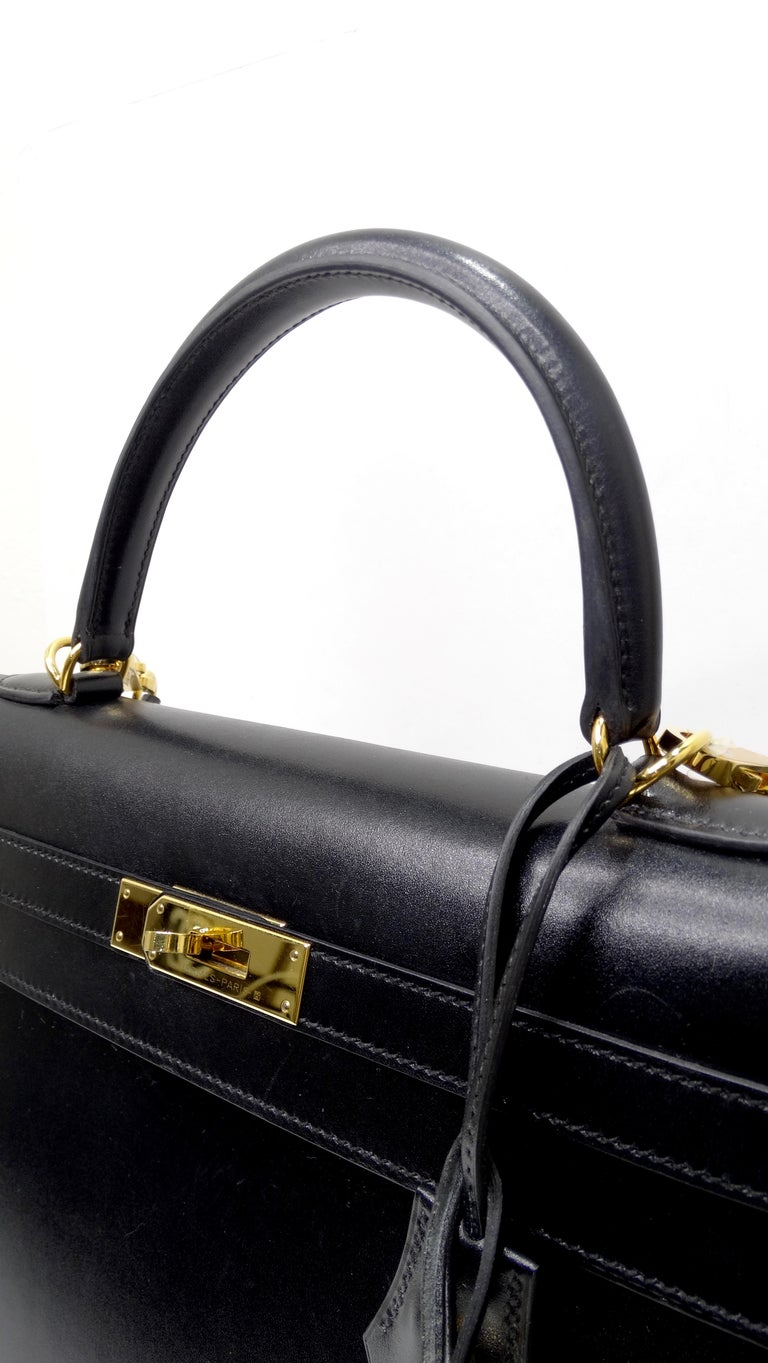 Hermès 2016 Kelly Sellier 35cm Black Box Leather  For Sale 14
