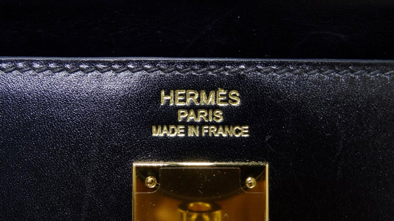 Hermès 2016 Kelly Sellier 35cm Black Box Leather  For Sale 4