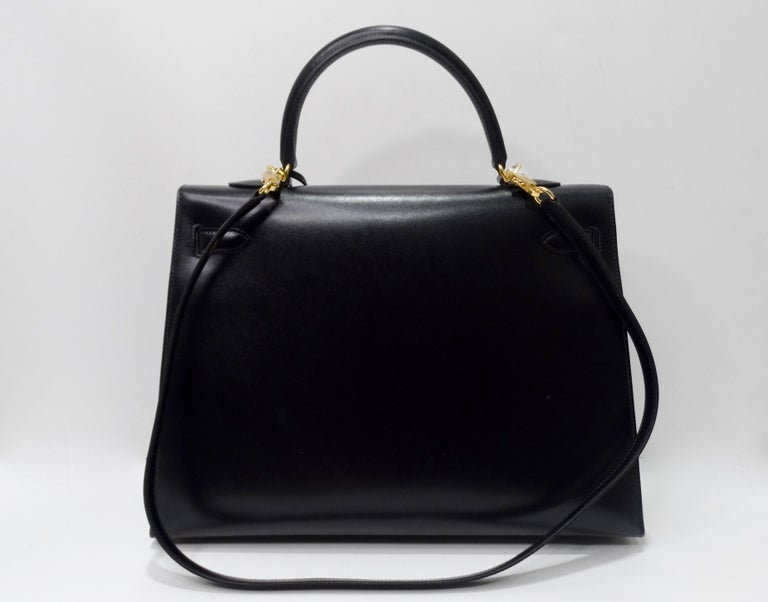 Hermès 2016 Kelly Sellier 35cm Black Box Leather  For Sale 5