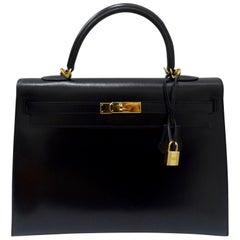 Hermès 2016 Kelly Sellier 34cm Black Box Leather