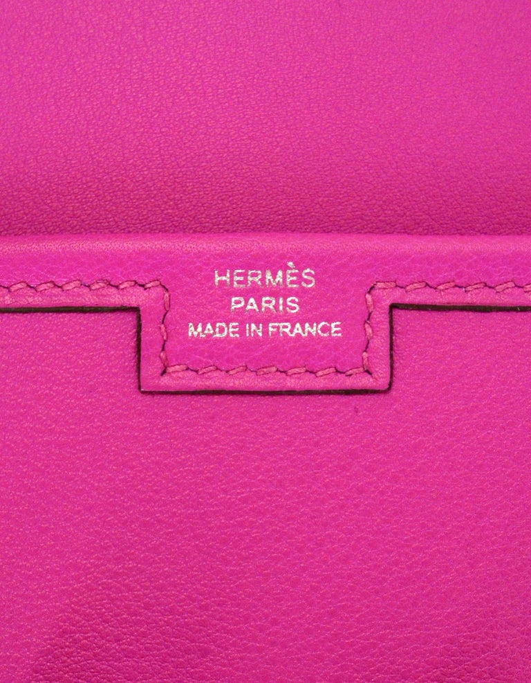 Hermes 2018 Magnolia Pink Swift Leather Jige Elan 29cm H Envelope Clutch Bag For Sale 2
