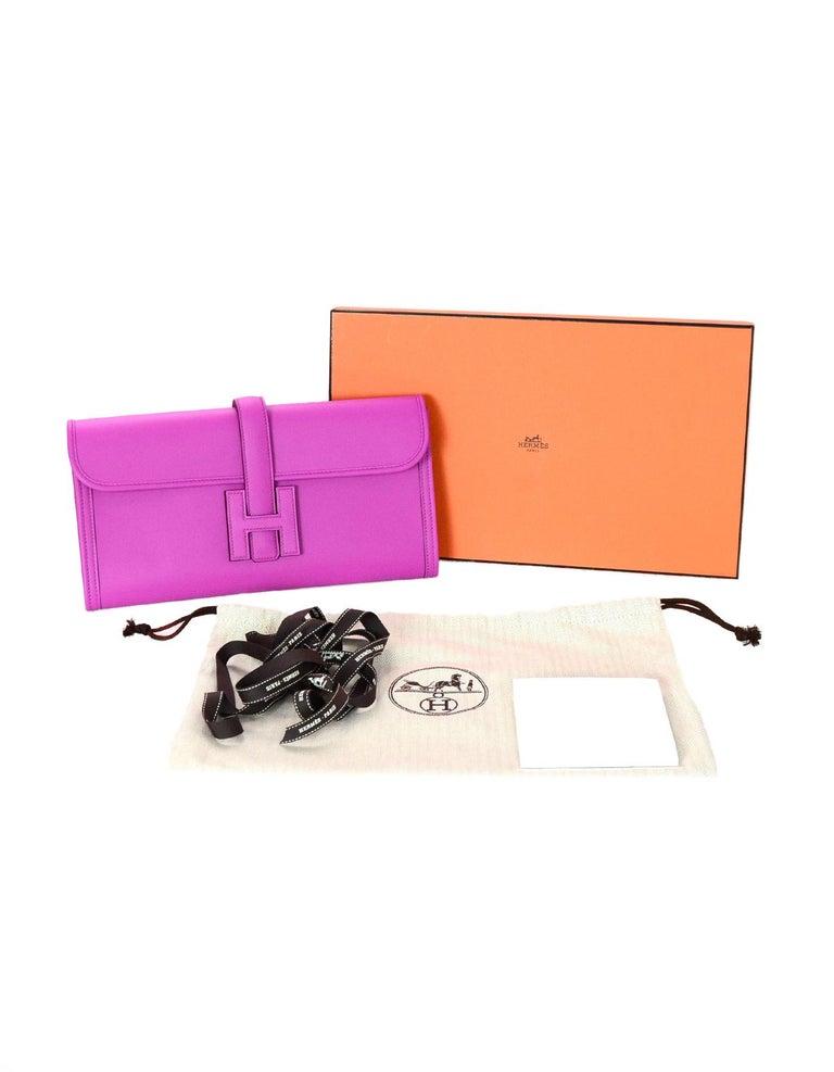 dc4a7e5c2f5a Hermes 2018 Magnolia Pink Swift Leather Jige Elan 29cm H Envelope Clutch Bag  For Sale 5