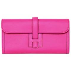 Hermes 2018 Magnolia Pink Swift Leather Jige Elan 29cm H Envelope Clutch Bag