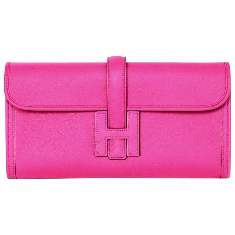 cc79f3508c12 Hermes 2018 Magnolia Pink Swift Leather Jige Elan 29cm H Envelope Clutch Bag  For Sale