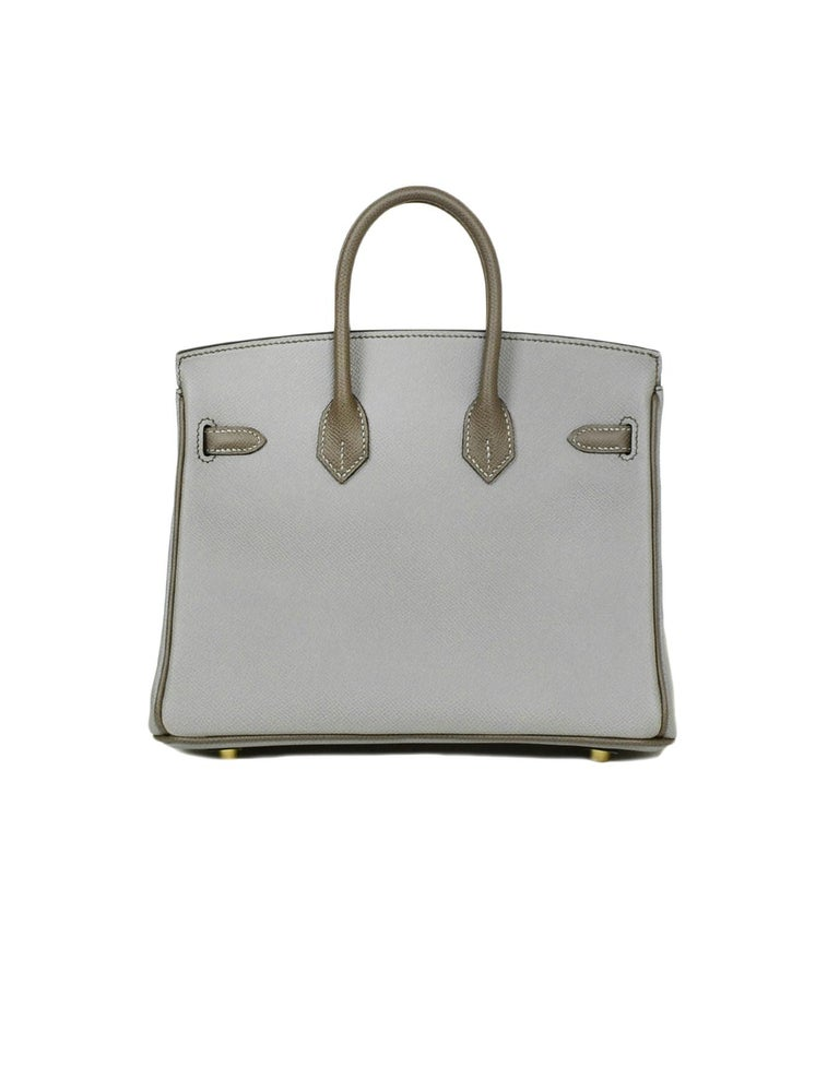 Gray Hermes 2018 NEW Bi-Color Grey Epsom 25cm Horseshoe Special Order Birkin Bag For Sale