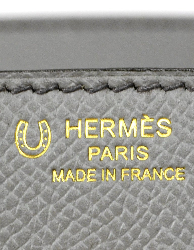 Hermes 2018 NEW Bi-Color Grey Epsom 25cm Horseshoe Special Order Birkin Bag For Sale 1