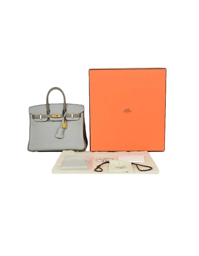 Hermes 2018 NEW Bi-Color Grey Epsom 25cm Horseshoe Special Order Birkin Bag For Sale 4