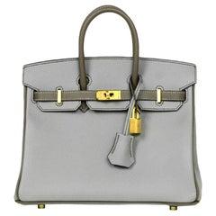 Hermes 2018 NEW Bi-Color Grey Epsom 25cm Horseshoe Special Order Birkin Bag