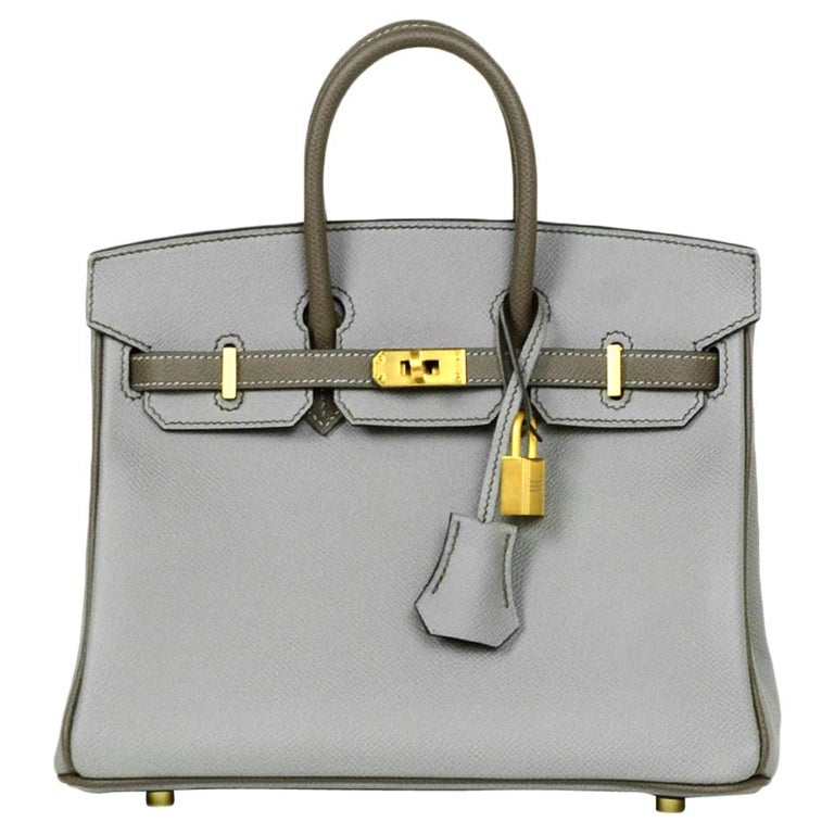 Hermes 2018 NEW Bi-Color Grey Epsom 25cm Horseshoe Special Order Birkin Bag For Sale