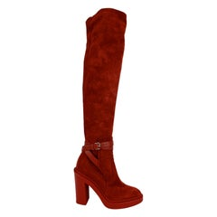 Hermes 2018 Red Suede Selena Over The Knee Boots Size 36