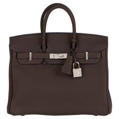 Hermes 2020 Ebene & Gold Togo Leather Verso Birkin 25cm
