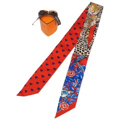HERMES 2020 Valentine Limited Twilly jungle love heart leopard pattern Womens sc