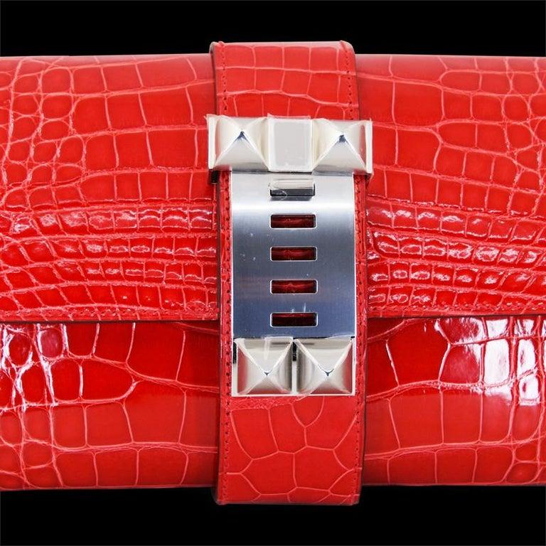 Women's or Men's HERMES 23 cm Mississippiensis Lisse Alligator Clutch Bag For Sale