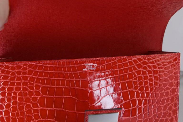HERMES 23 cm Mississippiensis Lisse Alligator Clutch Bag For Sale 1