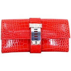 HERMES 23 cm Mississippiensis Lisse Alligator Crocodile Clutch Bag