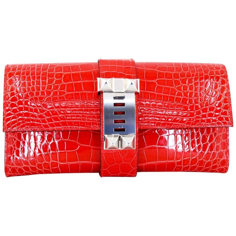 HERMES 23 cm Mississippiensis Lisse Alligator Clutch Bag For Sale