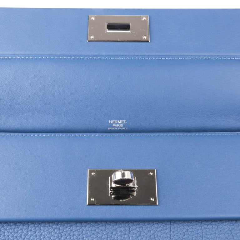 Hermes 24/24 35 Bag Blue Brighton Togo / Swift Leather Palladium Hardware In New Condition For Sale In Miami, FL