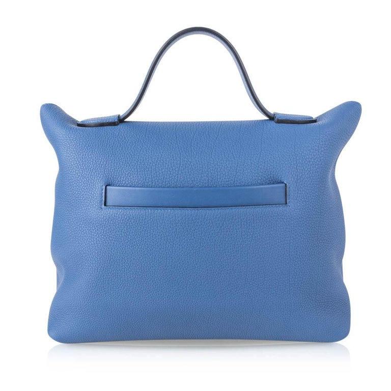 Hermes 24/24 35 Bag Blue Brighton Togo / Swift Leather Palladium Hardware For Sale 1