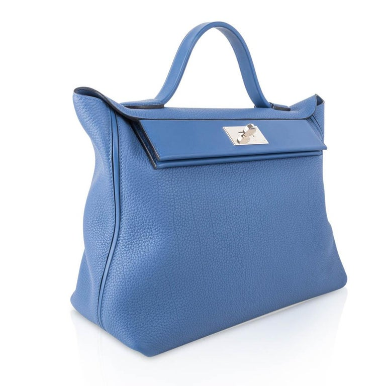 Hermes 24/24 35 Bag Blue Brighton Togo / Swift Leather Palladium Hardware For Sale 3