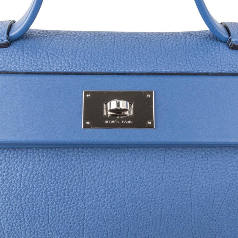 Hermes 24/24 35 Bag Blue Brighton Togo / Swift Leather Palladium Hardware For Sale 4