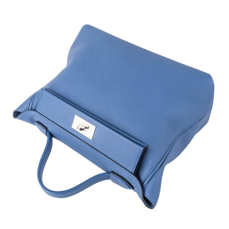 Hermes 24/24 35 Bag Blue Brighton Togo / Swift Leather Palladium Hardware For Sale 5
