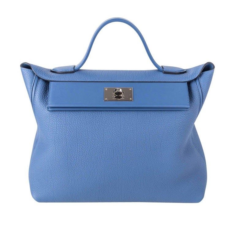 Hermes 24/24 35 Bag Blue Brighton Togo / Swift Leather Palladium Hardware For Sale