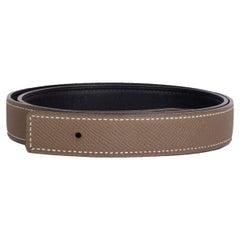 HERMES 24mm Reversible Belt Strap 85 Etoupe Black Epsom Box